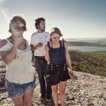 Jess, Leon & Kath eating marshmellows high on the rocks